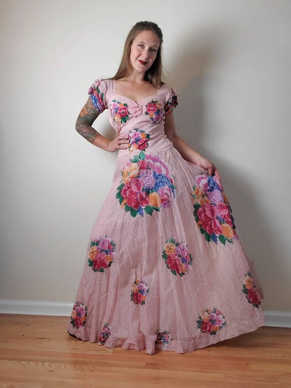 Vintage 1930s Pastel Floral Pink Gown • Sweetheart