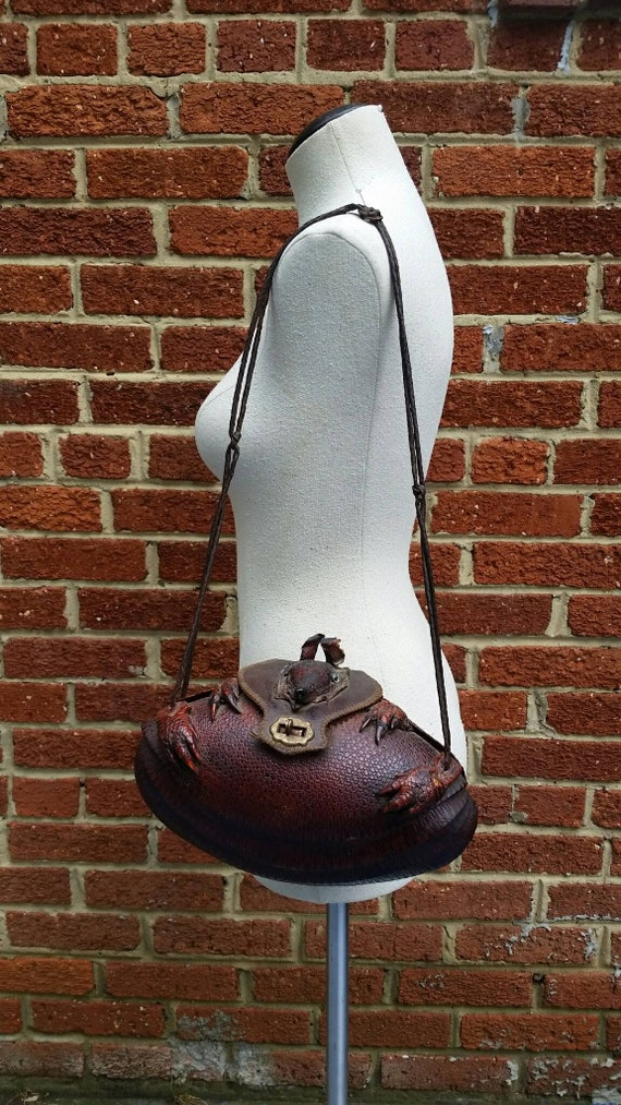 67c8569535d5 1940s 50s Vintage Leather Armadillo Purse Taxidermy Handbag