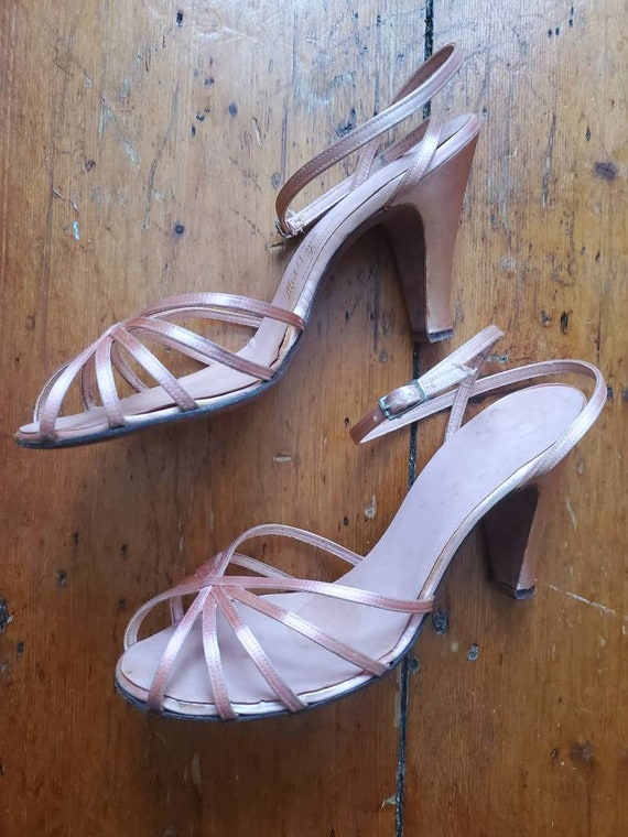 Vintage 1940s Pink Satin Strappy Heels • Kitten He
