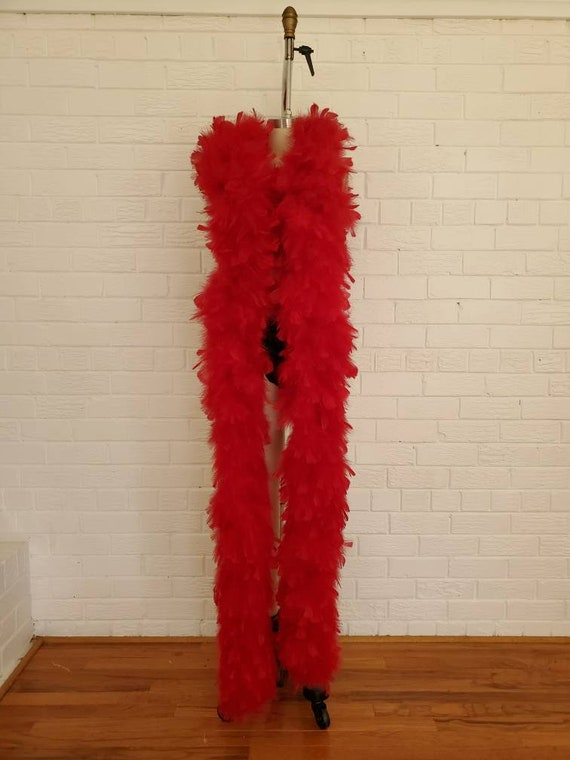 Vintage Huge Red Feather Boa • Thirteen Feet Long