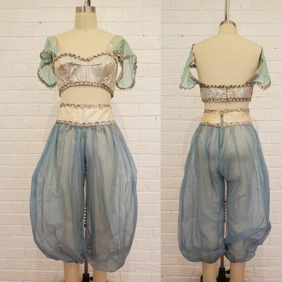 Vintage Blue Chiffon Silver Lame Belly Dance Costu