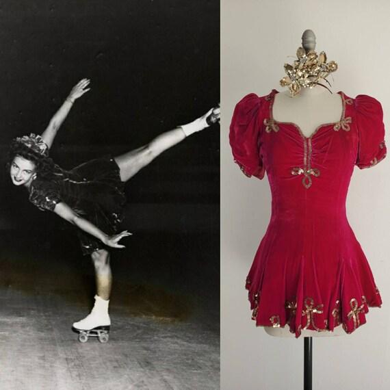 Vintage 1940s Quad Roller Skating Dress and Tiara