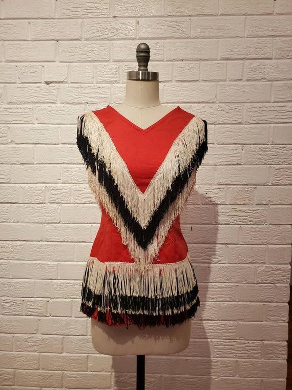 Vintage Majorette Costume • Fringe Mini Dress • Vi