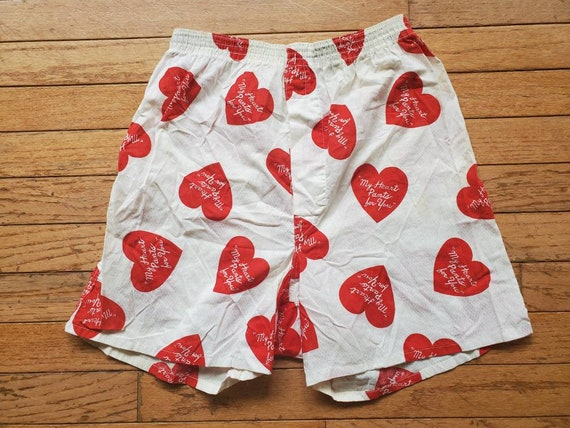 Vintage 1940s 50s Novelty Boxer Shorts • My Heart