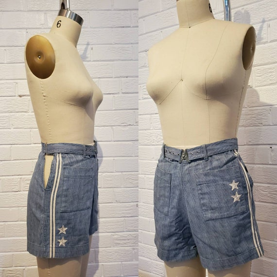 Rare 1930s 40s Denim Nautical Shorts • Vintage Spo