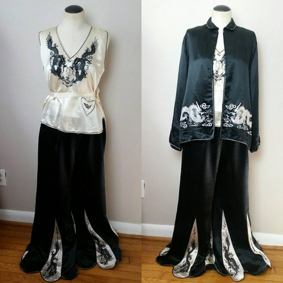 Vintage 1920s 30s Silk Dragon 3pc Pajama Set 》Hear