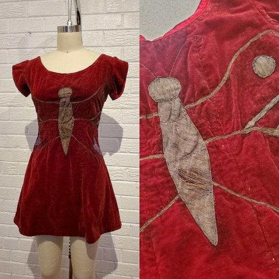 Vintage Red Velvet Butterfly Dress • Antique Costu