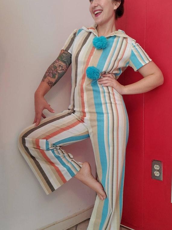 Vintage 1970s Striped Jumpsuit • Vintage Clown • H