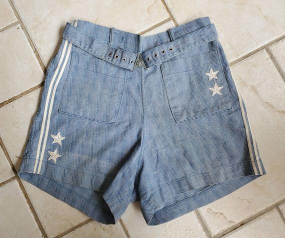 Rare 1930s 40s Denim Nautical Shorts • Vintage Spo