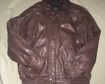 cf95a03be87 Vintage Men s Croft   Barrow Leather Jacket Bomber Brown Leather Classic