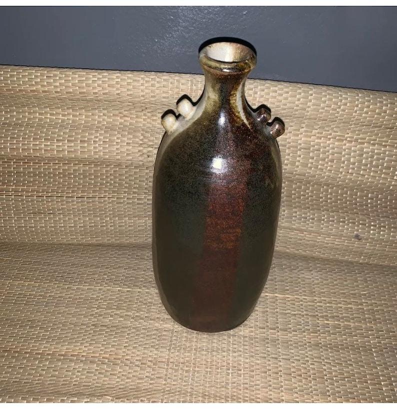 Beautiful Pottery Vase Earthy Tones Sandstone Glazed 10