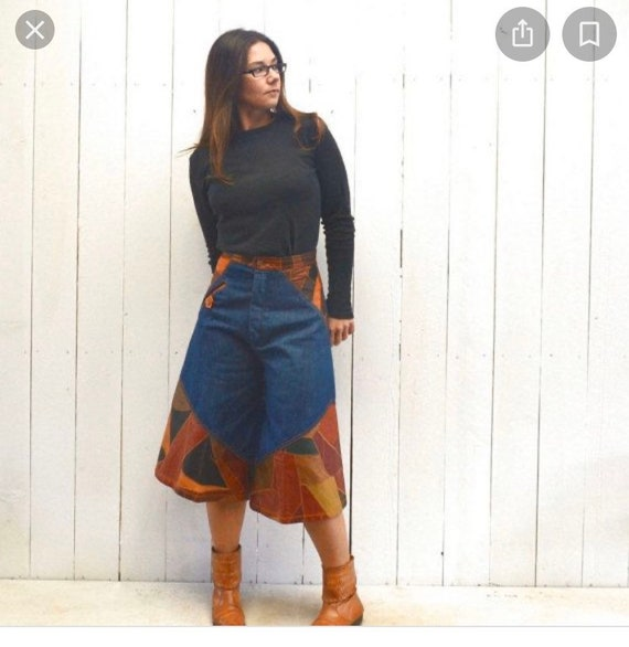 GROOVY Vintage Denim Leather Patchwork GAUCHOS Wom