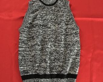 Vintage Sweater Pullover Vest Woman's Retro XL Stevemor Black Marbled