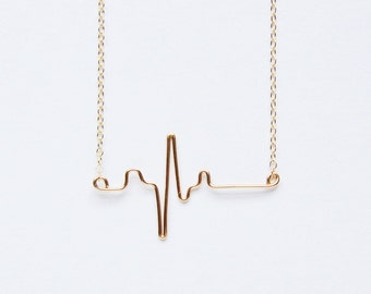 Heart Beat necklace|EKG necklace|Nurse Jewelry|Doctor thank you|Sterling Silver|Gold fill |Remembrance |Gift Ready |Medical Jewelry