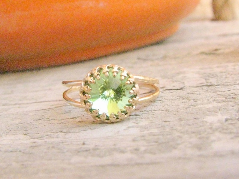 SALE  Peridot ring gold August Birthstone Jewelry Vintage image 0