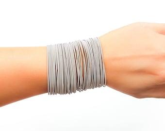 Sale - guitar string bracelets, silver spring bracelets, Stainelss steel guitar string bracelet, layered bracelets, thin silver bracelet