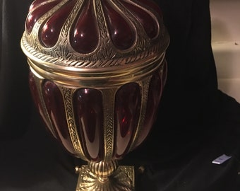 Vintage Polished brass and colored glass urn...free shipping !!