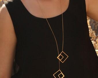 Long Squares Necklace, Adjustable Geometric Necklace