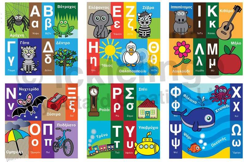 Children's Greek Alphabet Wall Frieze  Instant download image 0