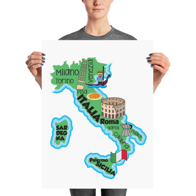 Italy Map Print image 0