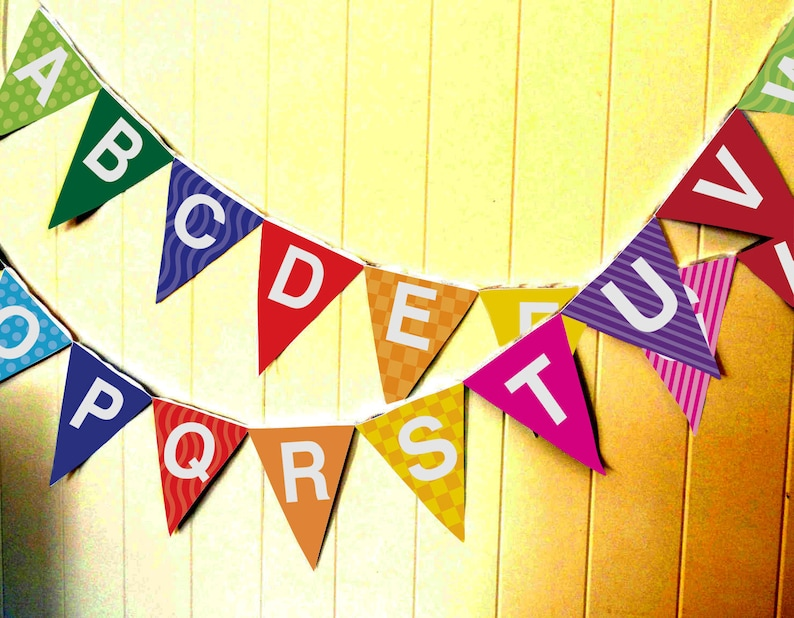 Children's Alphabet Bunting Flags / Garland   Instant image 0