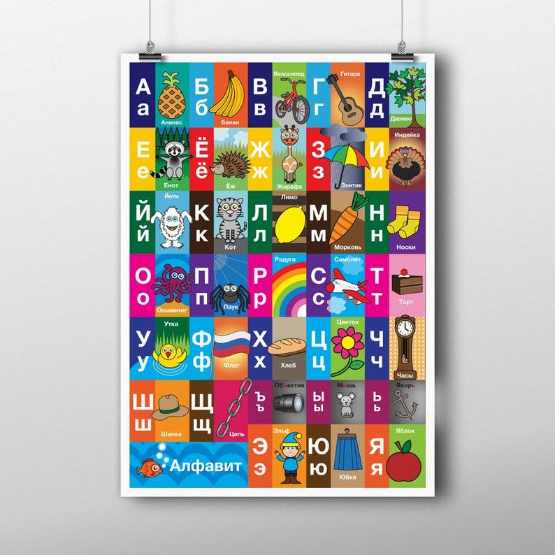 Children's Russian Alphabet Poster  various sizes  image 0