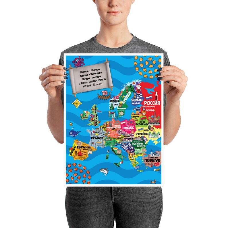 Europe & Beyond  Children's Multilingual Map print image 0