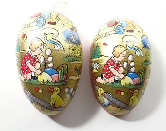 Antique German Easter Paper Mache Egg Candy Container Dressed Rabbit Child Ducks.