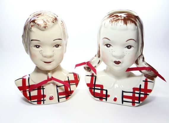 1950 Stanford Pottery Sandy Jean Head Vase Wall Pockets Etsy