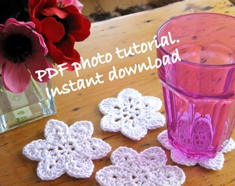 Pattern. Easy crochet coaster and hanging decoration photo tutorial.  Permission to sell items made from this pattern.