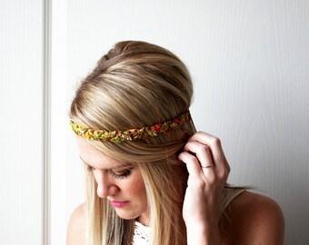 Braided Boho Headband Gold Crochet Fashion Hair Accessory