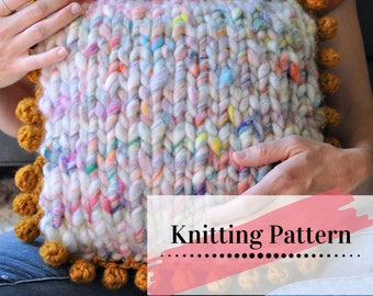 KNIT and CROCHET PILLOW Pattern / Knit Pillow / Home Decor Tutorial / Pillow Cover Pattern / All About The Yarn Pillow