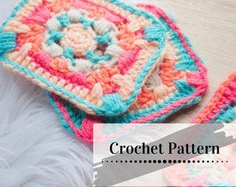 CROCHET GRANNY SQUARE Pattern / Boho Mosaic Granny Square Tutorial / Crochet Square Pdf Pattern