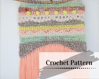 CROCHET TAPESTRY PATTERN   Modern Crochet Wall Hanging Tutorial   Neon Waves Remix Wall Hanging   yokieB
