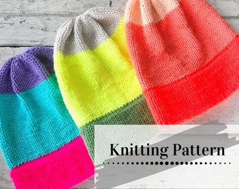 EASY KNIT PATTERN / Beanie Knitting Pattern / Knitted Toque Tutorial / Double Brim Beanie / Bright Fade Beanie
