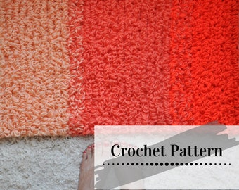 CROCHET RUG PATTERN / Loop Stitch Rug Tutorial / Crochet Home Decor / Crochet Loop Stitch / Peaches Pie Ombre' Loop Stitch Rug Pattern