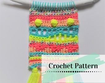 CROCHET WALL HANGING Pattern   Easy Crochet Pattern   Small Wall Tapestry   Neon Waves Mini Wall Hanging Pattern    yokieB