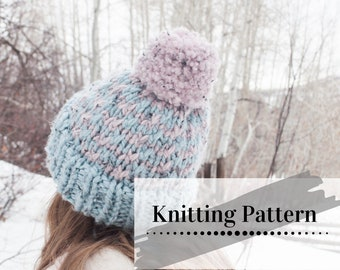 CHILDS KNIT HAT Pattern / Childrens Beanie Knitting Pattern / Knitted Toque Pattern / Color Outside The Lines Beanie