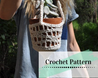 CROCHET PLANT HANGER Pattern / Crocheted Plant Hanger / Retro Plant Hanger Tutorial / Wavy Waves Plant Hanger Pattern
