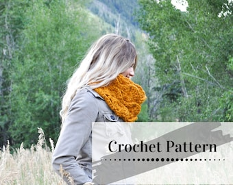 CROCHETED COWL PATTERN / Crocheted Infinity Cowl Tutorial  / Chunky Circle Scarf / Fire Lily Cowl Pattern