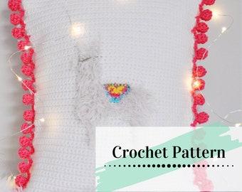 CROCHET LLAMA PILLOW / Crocheted Pillow Pattern / Crocheted Home Decor /  Crochet Llama Cushion Pattern / Pillow Cover / Llama Llove Pillow
