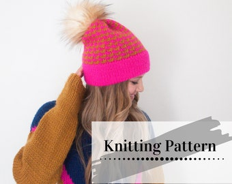 KNIT BEANIE PATTERN / Colorwork Knit Hat Pattern / Toque Knitting Tutorial / Color Outside The Lines Beanie