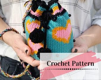 CROCHET PURSE PATTERN / Boho Bag Tutorial / Crochet Bucket Bag / Crocheted Purse / Hearts and Stripes Purse Pattern