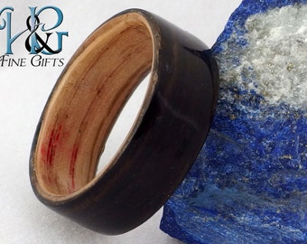 Bent wood ring size 12.5 two tone black ebony and red oak, bentwood ring in dark and light natural wood, wood jewelry ring, thumb ring mens