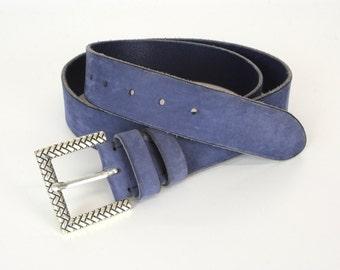 Blue Aged Leather Belt(4cm), Mens Leather Belt, Womens Leather Belt, Distressed Belt, Vintage Belt, Sturdy Belt,Blue Belt, Custom Belt