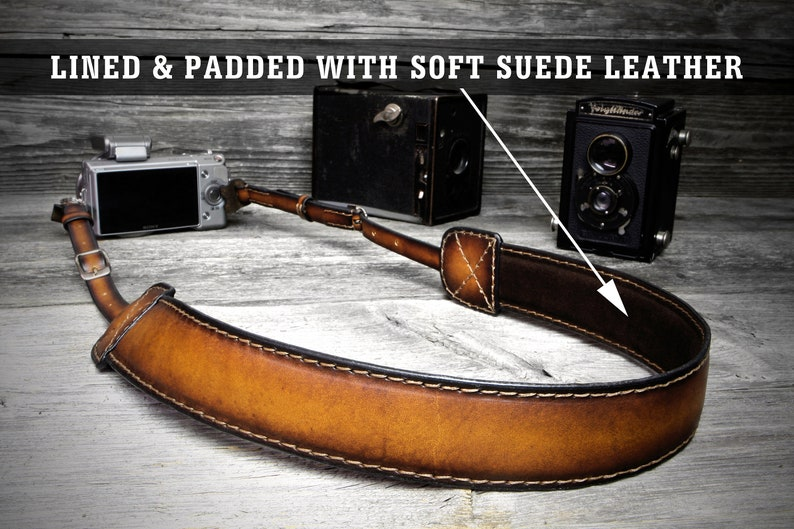 Gift for Photographers Genuine Leather Camera Strap Compatible DSLR  All Cameras Personalized Camera Band Adjustable Camera Neck Strap