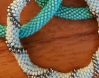 Trio of seed bead bracelets hand crochet I-P