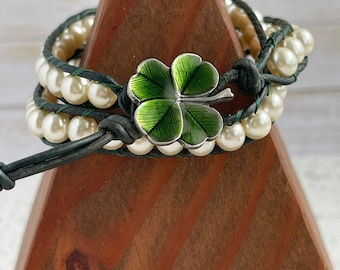 Double wrap bracelet boho sundance bracelet with enameled clover button and glass pearls fair trade bracelet woman's gift