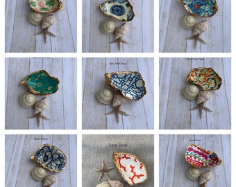 Oyster Shell ring dish, trinket jewelry dish, Coastal decor, Beach wedding favors Bridesmaid gifts Gifts under 20, Fair Trade