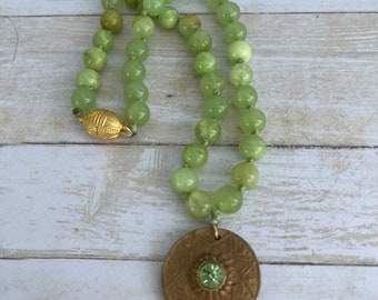 Boho necklace hand knotted Sundance style Fair trade necklace gemstone light green howlite stones